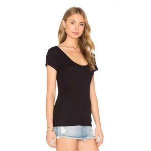Frame Denim Black Ribbed Le Scoop Back Tee Shirt